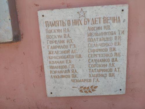 Список имен погибших учеников школы номер 4 Клинцы